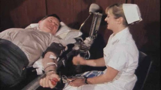 Frank Hall Donates Blood 1980