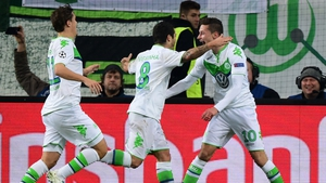 Wolfsburg's Vieirinha (C) celebrates after putting his side in front in the first half with a stunning team goal