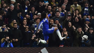 Willian celebrates his goal at Stamford Bridge