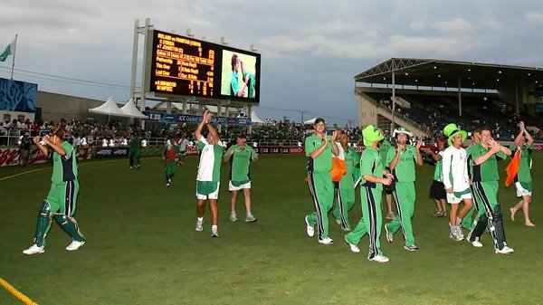 Ireland celebrate their victory over Pakistan at the ICC World Cup 2007 on St Patrick's Day