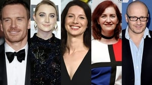 L-R Michael Fassbender, Saoirse Ronan, Caitríona Balfe, Room author and screenwriter Emma Donoghue and director Lenny Abrahamson