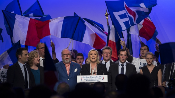 Leader of the French far-right political party Front National  Marine Le Pen delivers a speech during a campaign rally