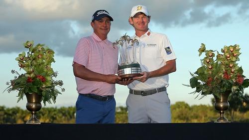 Jason Dufner and Brandt Snedeker with the winning trophy