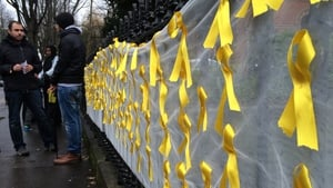 A banner with 121 ribbons to mark each week Ibrahim Halawa has spent in jail