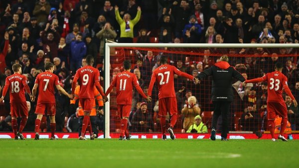Liverpool manager Jurgen Klopp and his players at the end of the match