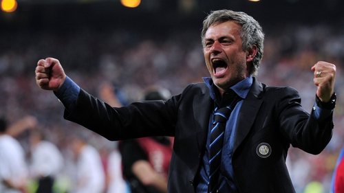 Jose Mourinho during Inter's Champions League final win, back when he celebrated victories