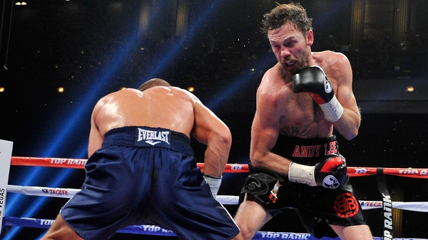 Matt Korobov (L) and Andy Lee during their fight for the WBO middleweight title in Las Vegas last December