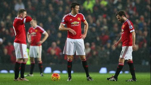 Wayne Rooney, Michael Carrick and Juan Mata after Norwich City's second goal