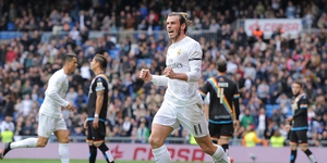 Gareth Bale celebrates the second of his four goals against Rayo Vallecano
