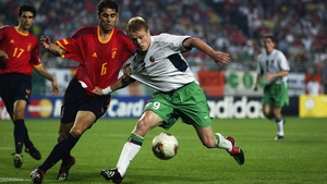 Damien Duff in action against Spain at the 2002 World Cup