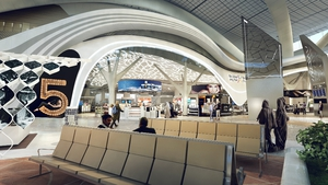 The new terminal will facilitate 28,000 sq m of commercial space when it opens, and the duty free area will cover 7,500 sq m