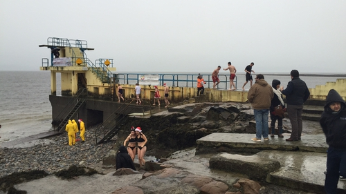 Some people swam for charity in Salthill, Galway