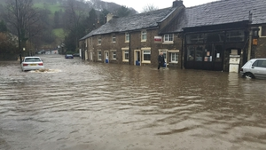 Rising water levels in Whalley in Lancashire, England where many people have been forced to leave their homes