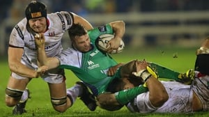 Connacht's Jack Carty is tackled by Ulster's Franco van der Merwe and Nick Williams