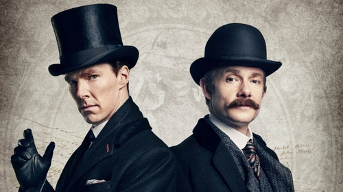 Benedict Cumberbatch and Martin Freeman as Sherlock and Dr Watson