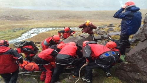 The Kerry Mountain Rescue Team stretchered an injured climber off Carrountoohil in the McGillycuddy Reeks in conditions described as atrocious. (Pics: Kerry Mountain Rescue Team)