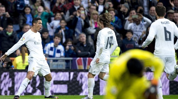 Cristiano Ronaldo celebrates after netting Real's second