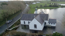 Kiltartan church in south Galway is surrounded by flood waters (Pic: Sean Brady)