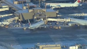 Twenty-one passengers were transferred to hospitals from the airport in Alberta, Canada