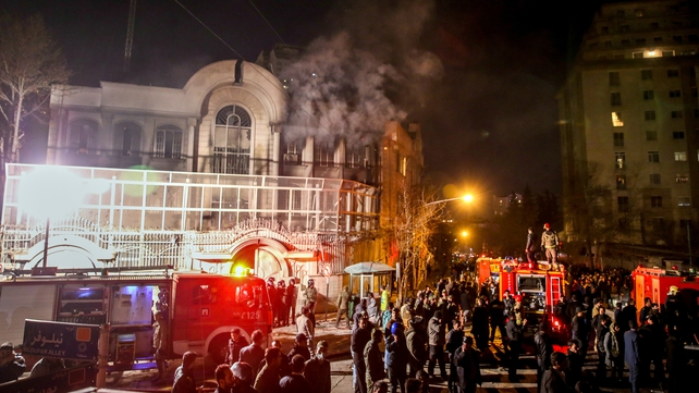 Iranian protesters set fire to the Saudi Embassy in Tehran