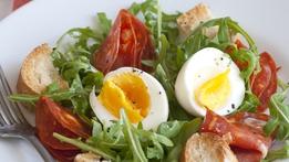 Salad of Hard Boiled Eggs with Mayonnaise, Harissa and Chorizo