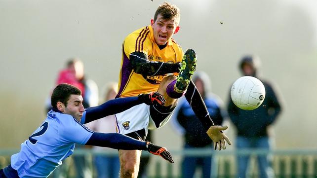 Dublin's Graham Hanningan gets a block on Pierce O'Connor of Wexford in Enniscorthy