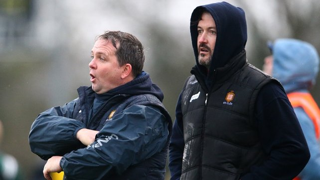 Davy Fitzgerald and his new Clare selector Donal Óg Cusack call the shots from the sidelines against Cork