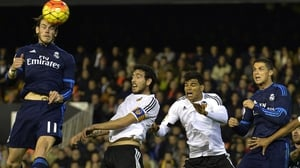 Gareth Bale heads home Real Madrid's second goal against Valencia