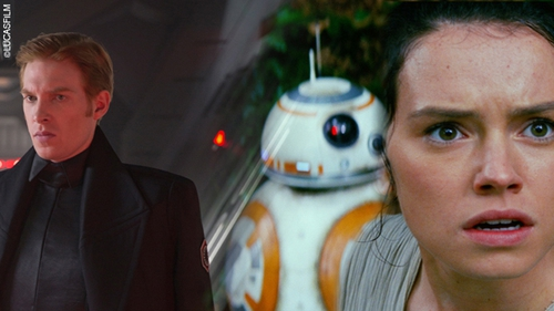 Domhnall Gleeson and Daisy Ridley in Star Wars: The Force Awakens