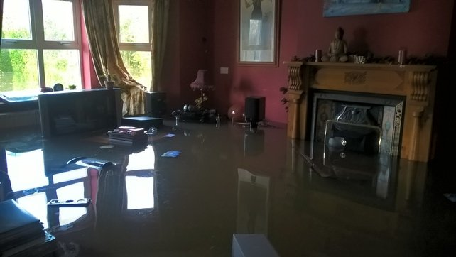The inside of Anthony O'Brien's flooded home in Fermoy, Co Cork