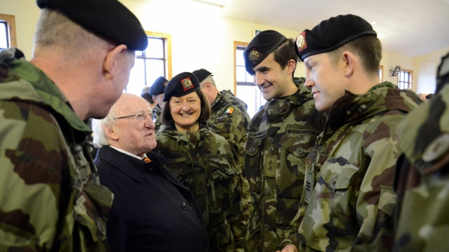 President Michael D Higgins meets 1st Bn soldiers in Labane, Galway