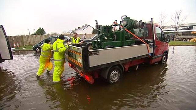 Workers engaged in Athlone flood operation