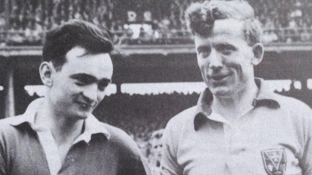 Gerry O'Malley (R) pictured with Kerry captain Sean Og Sheehy before the 1962 All-Ireland SFC final