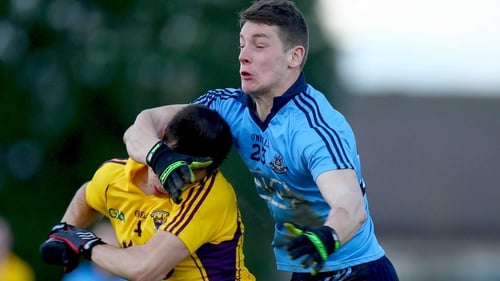 Dublin's Jason Whelan with Robbie Vallejo of Wexford during their O'Byrne Cup clash on Sunday