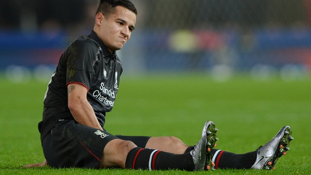 Philippe Coutinho pulled his hamstring in the first half
