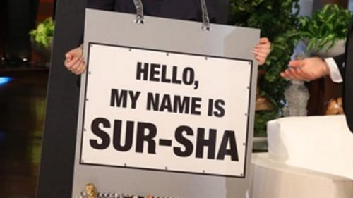 Saoirse's handy name placard
