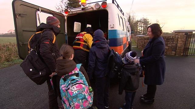 Schoolchildren in Longford are taken to school on a track vehicle