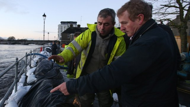 Enda Kenny pictured last month inspecting flood defences in Athlone