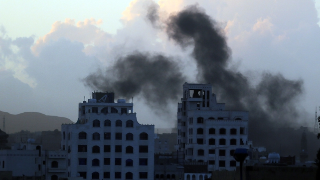 Smoke rises following airstrikes allegedly carried out by the Saudi-led alliance in Sanaa Yemen