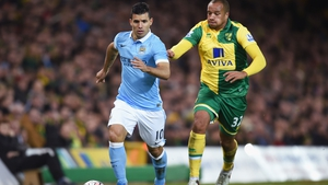 Match-winner Sergio Aguero in FA Cup third round action against the Canaries.