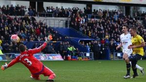 Kemar Roofe lifts the ball past goalkeeper Kristoffer Nordfeldt