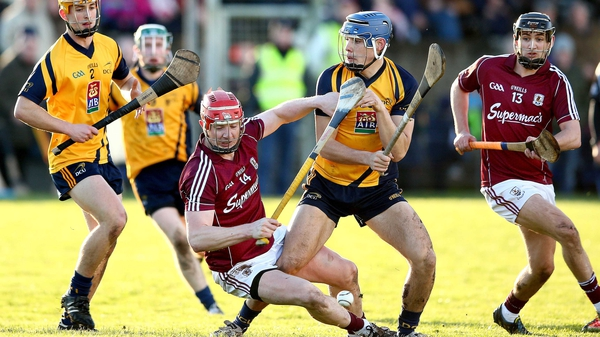 Galway's Joe Canning battles with Eoghan O'Donnell of DCU
