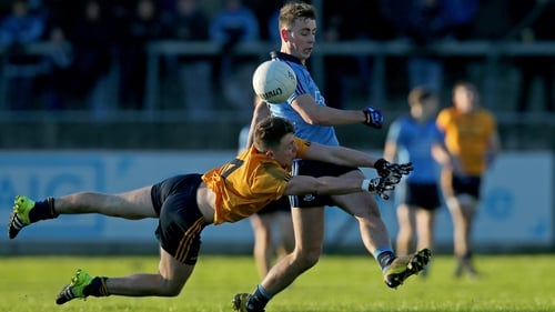 DCU's Dessie Ward tries to block Cormac Costello's shot at Parnell Park