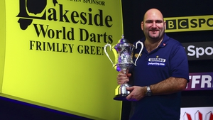 Scott Waites of England with his winning trophy