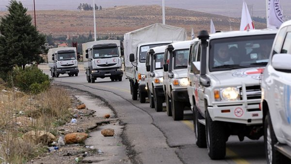 Aid was finally allowed to enter the besieged town yesterday after several delays