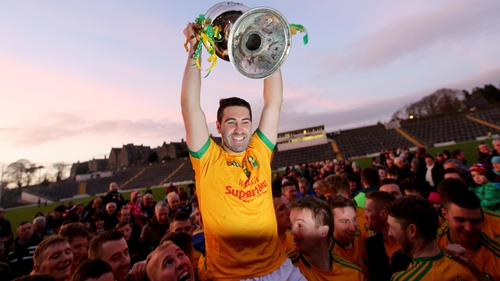 Bryan Sheehan lifts the cup as South Kerry prevailed in the Kerry championship