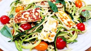 Balsamic Halloumi Courgette Salad