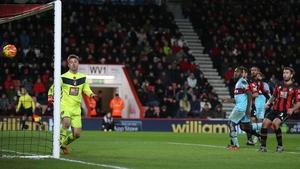 Goalkeeper Artur Boruc of Bournemouth watches Enner Valencia effort go in