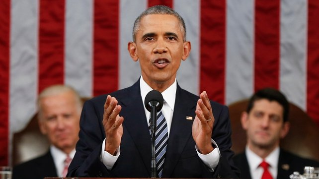 A joint session of Congress hear Mr Obama deliver his final State of the Union address