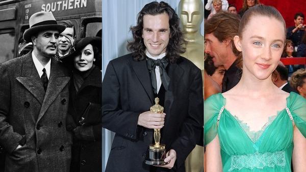 Left - right: Cedric Gibbons, English-born Irish citizen Daniel Day Lewis and Saoirse Ronan